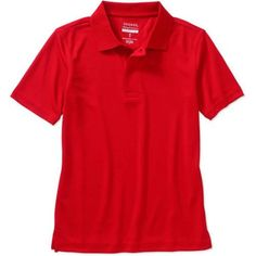 George School Uniform Boys Short Sleeve Performance Polo Shirt, Boy's, Size: 2XL, Red