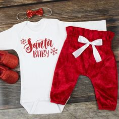 Girl's Christmas Outfit | 'Santa Baby' Top with Red Velvet High Waisted Santa Pants | Complete Baby or Toddler Christmas Set