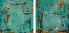 "Martha Rea Bakerpaintings|Karan Ruhlen Gallery Santa Fe Contemporary Fine Art.  COLORES DE MALAGA V AND VI 30 x 30"" each, priced as each ACRYLIC, MIXED MEDIA ON PANEL $ 3,200.00"
