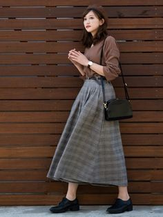Pasios Glen check wide pants ¥ 1900 including tax A line silhouette using a lot of fabric likes Sour K Fashion, Korea Fashion, Asian Fashion, Modest Fashion, Skirt Fashion, Hijab Fashion, Trendy Fashion, Fashion Dresses, Vintage Fashion