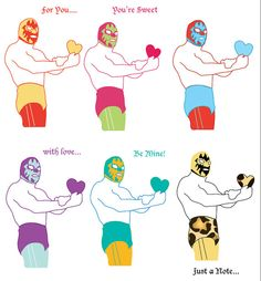 Mini Luchador Love Notes one dozen by bLuGrnDesign on Etsy