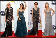 From left, Glenn Close is wearing Bibhu Mohapatra; Sarah Paulson in Reem Acra; Anna Chlumsky in Christian Siriano; and Connie Britton in Andrew Gn.  Credit: From left: Matt Sayles/Invision, via Associated Press (2); Frazer Harrison/Getty Images (2) via NYTimes.com