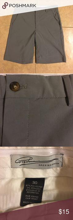 "☀️Men's Greg Norman Flat Front Shorts 30"" Waist Men's Greg Norman Flat Front ""Golf"" Shorts.  30"" Waist.  9.5"" inseam.  Gray.  Like brand new condition.  Smoke-free home, bundle and save! Greg Norman Shorts Flat Front"