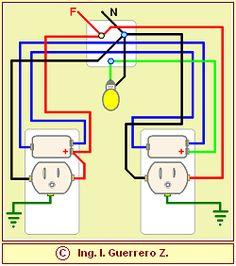 Conexión de una lámpara incandescente controlada por dos apagadores de escalera con tomas de corriente en las cajas