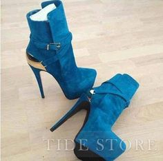 US$111.99 Fashionable Blue Suede Side Buckle High Heel Ankle Boot. #Ankle #High #Boot #Side