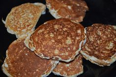 Protein Pancakes. Only 3 ingredients, egg whites, protein powder & quick oats.