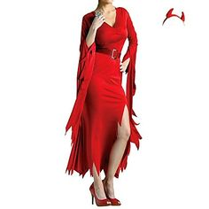 New Red Polyester Devil Cosplay Women Witch Halloween Costumes – USD $ 33.99