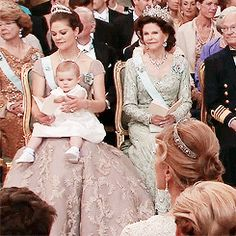 """pogglepoppy: """" """" Crown Princess Victoria and Princess Estelle being cutie pies during today's service (June 8, 2013) """" Three queens in one photo! """""""