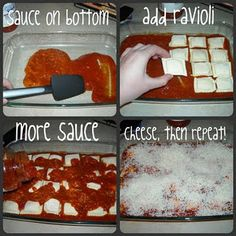 Baked ravioli - Cheap & easy meal - I used cheese ravioli with fettuccine sauce, and added panko bread crumbs on top with the cheese. Pretty tasty and really easy for a meal when you're in a time crunch.
