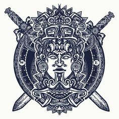 Illustration of Ancient aztec totem, Mexican god warrior and crossed swords. Indian mayan carved in stone tattoo art. Mayan tattoo and t-shirt design vector art, clipart and stock vectors. Mayan Tattoos, Mexican Art Tattoos, Symbol Tattoos, Polynesian Tattoos, Hand Tattoos, Sleeve Tattoos, Aztec Warrior Tattoo, Aztec Tattoo Designs, Aztec Designs