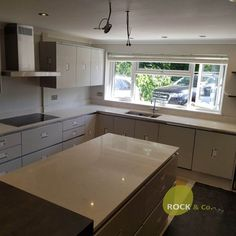 Monaco Carrera- Hoddesdon, Herts - Rock and Co Granite Ltd Carrera, Monaco, Handleless Kitchen, Dark Wood, Storage Spaces, Granite, Home Decor, Dark Hardwood, Marble