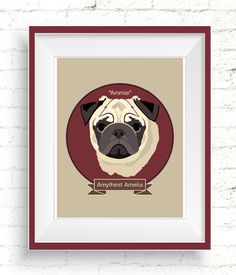 Custom Pug Portrait. Personalized dog illustrations make wonderful gifts for dog lovers. #doglovers #doglovergift #petportrait #custompetportrait #dogportrait #customdogportrait #personalizedpetportrait #handmadepetportrait #digitalportraits #petportraitgift #customdogillustration #pugportrait #pugillustration #pugdrawing