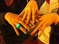July 3, 2011: OMG! : )Scarlett and I discover we both had 2 colours on our nails #spookystyling