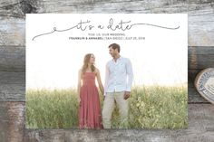 """It's a Date!"" - Full-Bleed Photo Save The Date Cards in Onyx by Saltwater Designs."