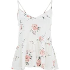 White Floral Print Velvet Peplum Cami Top found on Polyvore featuring tops, shirts, floral tank, floral cami, white peplum tank, peplum tops and white singlet