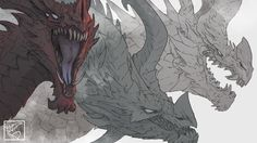 Here's the banner for my (not yet launched) Patreon page! This is just the background image, plus little signature dealy. The actual banner has text all over it, so I wanted to show off just the art. Fantasy Monster, Monster Art, Creature Concept Art, Creature Design, Magical Creatures, Fantasy Creatures, Dragons, Dragon Sketch, Beautiful Dragon