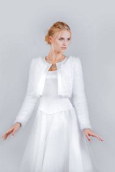 Wedding Bridal Stole made from Silk Velour material. (fur imitation) Available in white colour only. Wedding Dress Accessories, Wedding Dresses, Bridal Bolero, All Things, Bell Sleeve Top, White Dress, Sweaters, Stuff To Buy, Color
