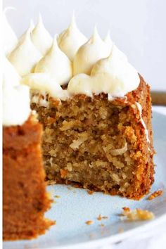 Honey Frosting - 8oz cream cheese, 4 tablespoons honey, 1/4 cup powdered sugar. Shown on a banana-coconut cake
