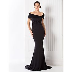 Formal Evening Dress Trumpet/Mermaid Off-the-shoulder Sweep/Brush Train Jersey Dress – USD $ 119.99