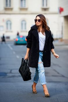 Easy and effortless in Sandro teddy coat, boyfriend jeans, white tee and a pop of leopard.