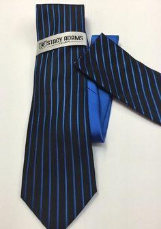 Stacy Adams Tie & Hanky Set  Royal Blue & Black Men's Hand Made 100% Microfiber #StacyAdams #Tie
