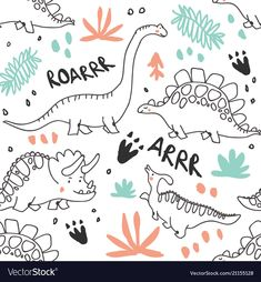 Cute dinosaurs and tropic plants. Hand drawn vector doodle design for girls, kids. Hand drawn childrens pattern for fashion clothes, shirt, fabric , Dinosaur Fabric, Dinosaur Pattern, Cute Dinosaur, Doodle Designs, Doodle Patterns, Kids Patterns, Dinosaur Wallpaper, Doodles, Drawing For Kids