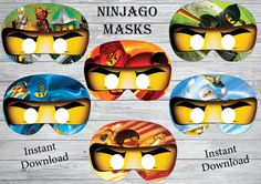 Instant download 6 Printable Ninjago masks !! You want to make your Ninjago party special! 6 Ninjago masks to make you guests happy ! Just cut the