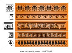 Ancient Greece ornament, octant, meander, decor from the ancient Greek ceramic pottery vase painting,