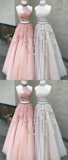 elegant 2 pieces prom party dresses with appliques,
