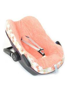 Glorious Lou Sitzbezug mit Frottiergewebe für Maxi-Cosi Pebble - aus 100% Bio-Baumwolle - Kollektion Peach Poppies - Lachsrosa Blumen