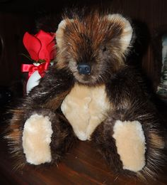 Hand crafted real beaver fur teddy bear by ArcticFurBears on Etsy,