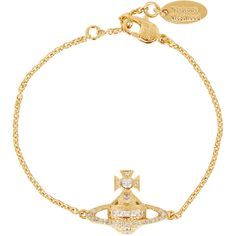 Vivienne Westwood Mini Bas Relief Chain Bracelet (£85) ❤ liked on Polyvore featuring jewelry, bracelets, swarovski crystal charms, vivienne westwood, gold tone jewelry, lobster claw charms and vivienne westwood jewelry