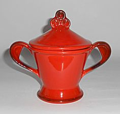 Metlox Poppy Trail Pottery Red Rooster Sugar Bowl Mint