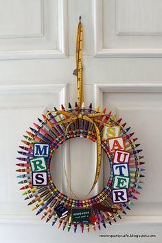 Crayon wreath for preschool classroom - cute!