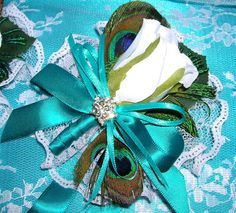 Peacock and Rose Bud Wrist Corsage Pin On Corsage by sljbridal, $21.00  (for the Mother of the Bride & Groom)