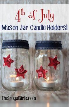 4th of July Mason Jar Candle Holders