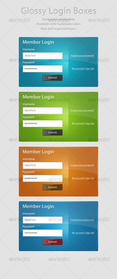 Glossy Login Boxes - Forms Web Elements
