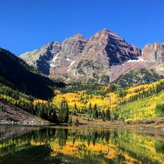 Maroon Bells, Pitkin County, Colorado - Don't stop here. Be sure to save enough to time to hike up to crater lake... About 45 mins. Each way
