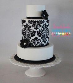 Damask Wedding Cake   www.sweetcheekscookiesandcakes.com.au