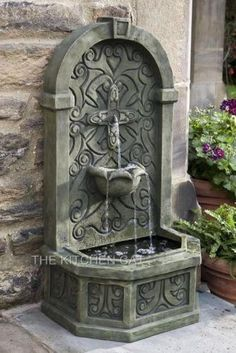 "Wall Fountains Outdoor tuscany garden fountain with 46"" basin 