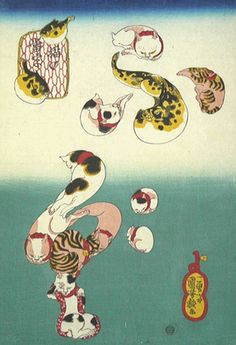 Cat Letters: Pufferfish (Neko no ateji: Fugu) - Kuniyoshi  猫の当字  ふぐ