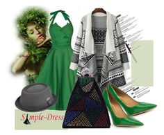 """""""Simple-dress 09"""" by irinavsl ❤ liked on Polyvore featuring Salvatore Ferragamo, kangol, modern and vintage"""