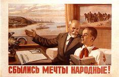 Stalin Lenin Propaganda poster Soviet art Old by SovietPoster Cold War Propaganda, Communist Propaganda, Propaganda Art, Soviet Art, Soviet Union, Slogan, Patriotic Posters, Socialist Realism, Poster Pictures