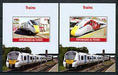 a chad 2016 estampillada sin montar o nunca montada modernos trenes de alta velocidad 2x 1v ms virgen azuma ferrocarriles sellos
