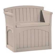 Taupe Suncast Storage Patio Seat Plastic Resin Bench With Storage Garden Bench Patio Storage Bench, Storage Chair, Bench With Storage, Outdoor Storage, Patio Bench, Bench Seat, Corner Storage, Storage Ideas, Outdoor Garden Bench
