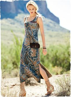 Bold tropical blooms are knit in batik hues of brown sugar, indigo, cream and rouge, resulting in a pima jacquard tank dress that is drop-dead gorgeous. Easy, elegant, long and lean, with a fit-and-flare silhouette, scoop neck and deep side slits.