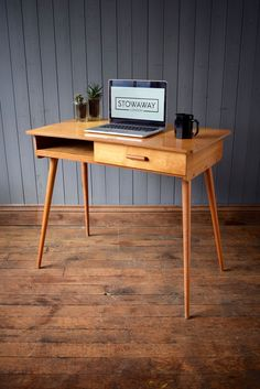 Vintage Mid Century Wooden Desk With Hairpin Legs & Drawer - Retro CAN DELIVER