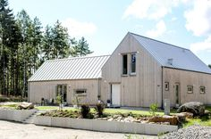 Scandinavian Architecture, Farmhouse Architecture, Modern Architecture, Modern Barn, Modern Farmhouse, Barn With Living Quarters, Tiny House Exterior, Open House Plans, Pole Barn Homes