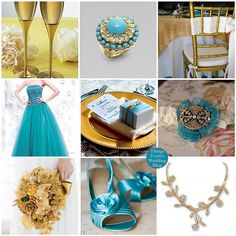 Turquoise and gold accent