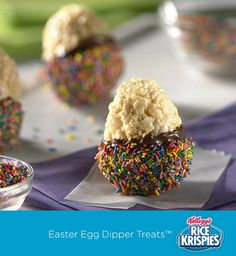 Your kids can use plastic Easter eggs to mold Rice Krispies Treats™. Then you can double dip them together – once in chocolate and once in sprinkles!